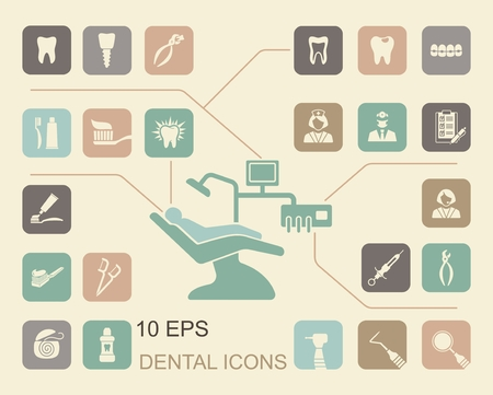 medical supplies: Stylized flat symbols of dentistry and dental care
