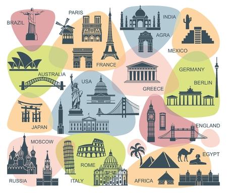 アイコン建築記念碑および世界の観光スポット  イラスト・ベクター素材