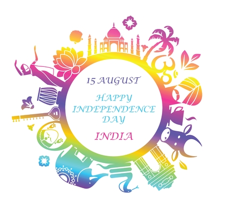 15 august: Traditional symbols of India in the form of a circle Illustration
