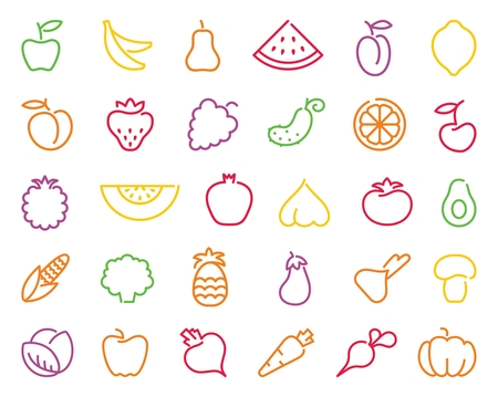 Simple stylized contours of vegetables and fruits