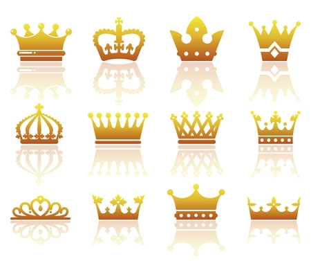 aristocracy: Set of silhouettes of stylized images of the crown