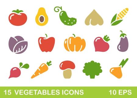Stylized icons of vegetables, mushrooms and avocado Illustration