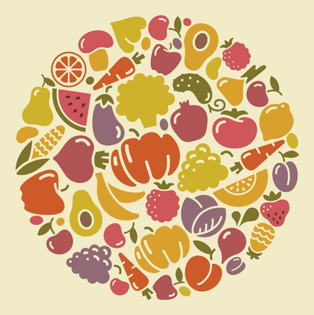 Icons of vegetables and fruit in the form of a circle