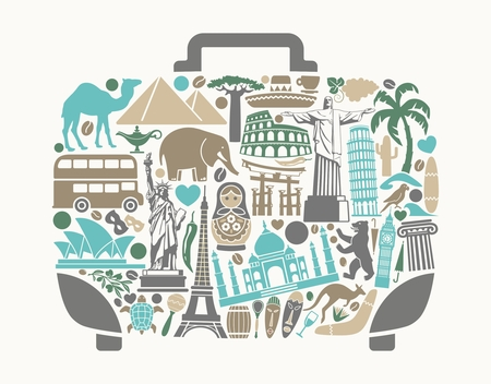 sights: Symbols of world attractions in the form of a suitcase