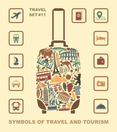 Symbols of world attractions in the form of a suitcase