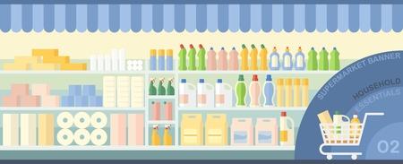 utiles de aseo personal: papel higiénico, toallitas y fuentes de limpieza en vitrina en un supermercado Vectores