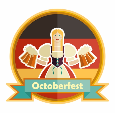Bavarian girl with beer. Oktoberfest label with ribbon banner and space for text, isolated Illustration