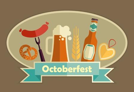 comida alemana: Conjunto del icono de Oktoberfest. comida y cerveza alemanas símbolos. Ilustración del vector. Vectores