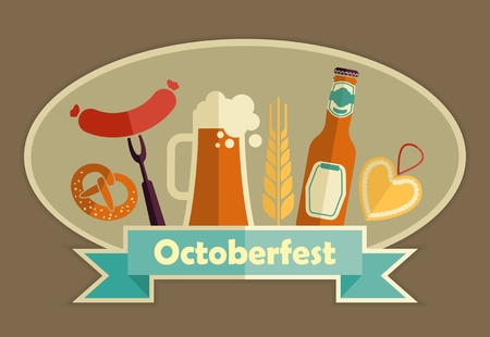 german food: Octoberfest icon set. German food and beer symbols. Vector illustration.