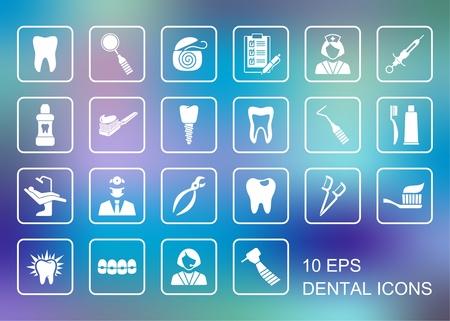 Stylizowane płaskie symbole stomatologii i opiece stomatologicznej