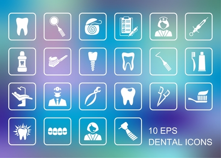 Symboles plats stylisées de la dentisterie et les soins dentaires Banque d'images - 64792235