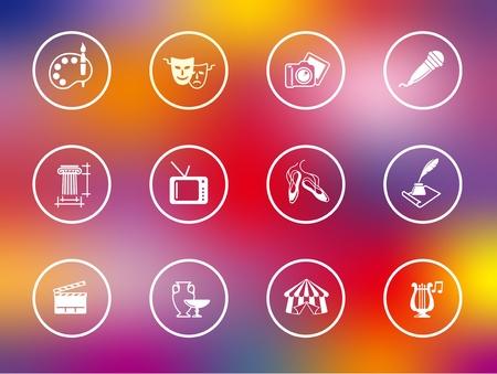 arts culture and entertainment: Flat symbols of culture, arts and entertainment on festive background Illustration