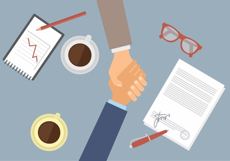 Businessman handshake on contract paper after agreement Vettoriali