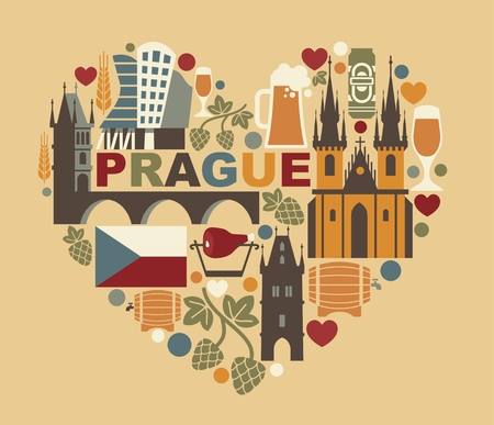 Czech Republic and Prague symbol in the form of heart