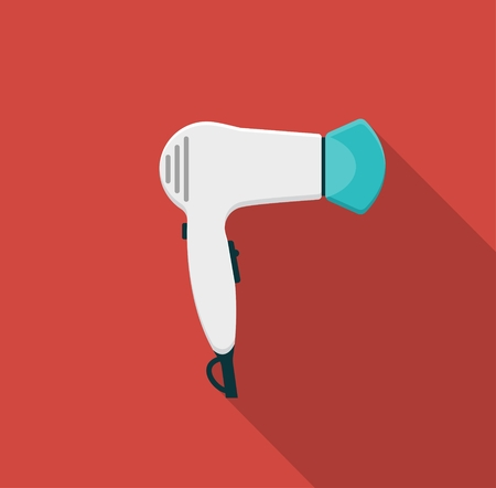 blow drying: Hairdryer. Flat icon with a shadow. Vector Illustration