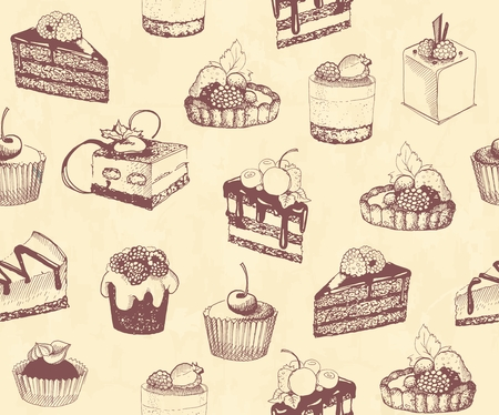 chocolate drops: Sketches of scrumptious cupcakes and berry pie and chocolate tiered cake, decorated by butter cream, fresh strawberries and cherries, chocolate drops and wafer tubes
