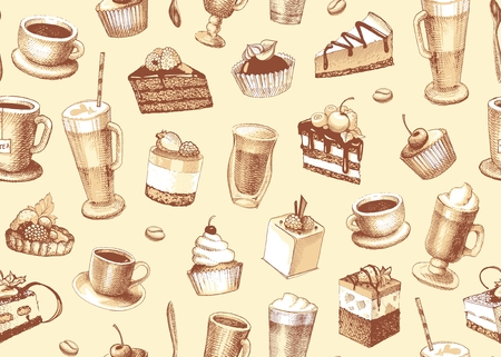 Sketches of cupcakes, berry pie and chocolate tiered cake and coffe. Seamless pattern
