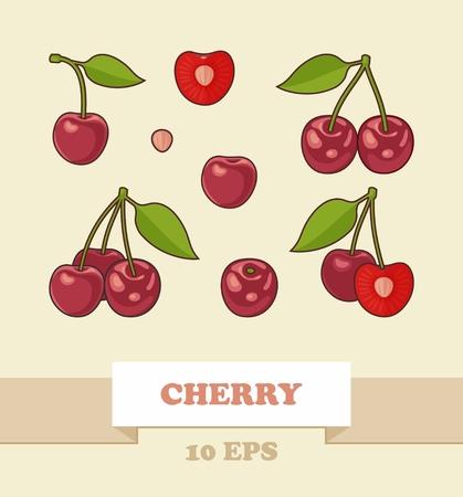 Bunches of juicy cherries, single berries and pit