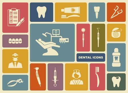 dental mirror: Stylized flat symbols of dentistry and dental care