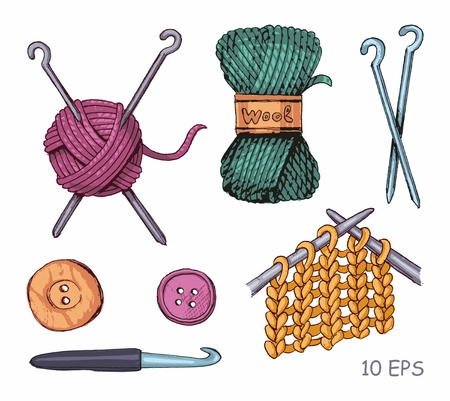 Knitting illustrations. Hand drawn needle, scissors, ball of yarn, knitting needles and crochet Ilustração