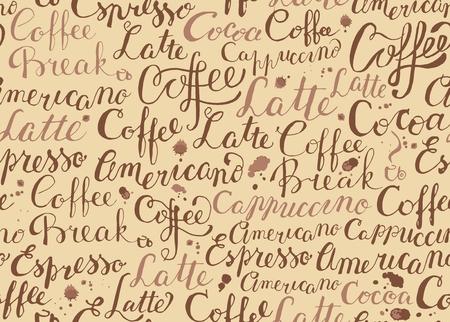 Sfondo senza soluzione di continuità con le parole sul tema di caffè e gocce