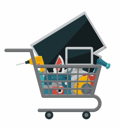 Shopping cart with electronics and home appliances