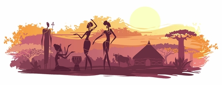 Sunset in Africa with the silhouettes of national housing, baobabs, acacia, wildebeest and dancing natives