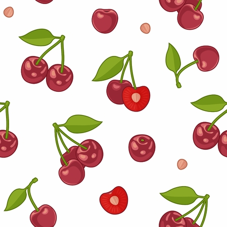 cherries isolated: Seamless pattern with Bunches of juicy cherries, single berries and pit