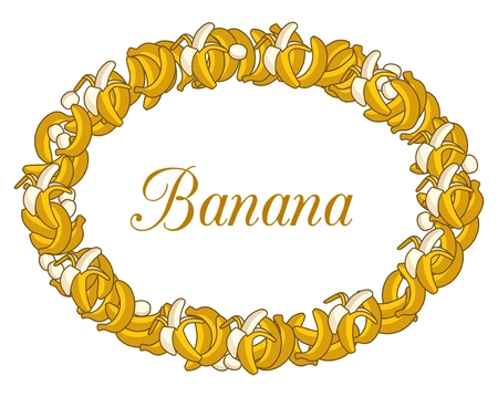 peeled banana: Frame made of of Cartoon Yellow Bananas on white background. Single Banana, Peeled Bunch, Slices Illustration