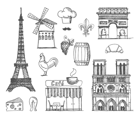 french: Sketches traditional symbols of the French architecture, culture, kitchen