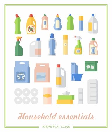 utiles de aseo personal: papel higiénico, toallitas y fuentes de limpieza en escaparate de los iconos planos