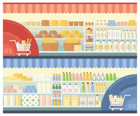 antiseptic: Supermarket shelves with bakery products, dairy products and household chemicals Illustration
