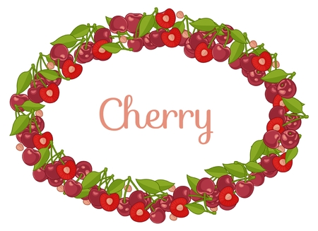 Oval frame with Bunches of juicy cherries, single berries and pit