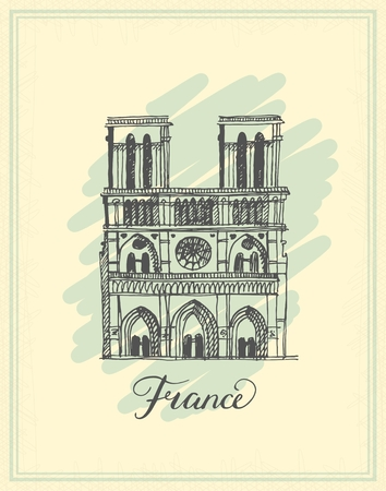 Postcard with Notre Dame de Paris Cathedral, France. vector illustration of french travel landmark.