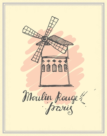 retro postcard: Postcard with a sketch of the Moulin Rouge in retro style