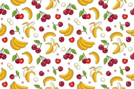 Fond transparent avec des cerises et des bananes. Vector illustration de fruits d'été.
