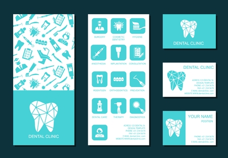 promotional products: Set of flyerand business cards for dental clinic. Set of promotional products. Flat design. Vector illustration