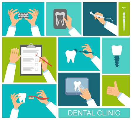 checklist: Dental instruments, toothbrush, x-ray of the tooth in the hands of the dentist. Flat design vector illustration. Illustration