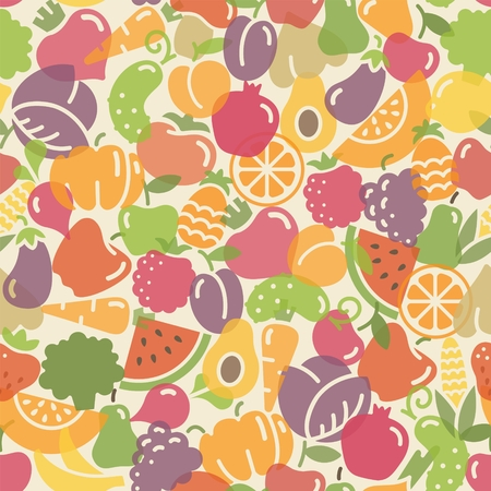 Seamless with pictures of fruits and vegetables