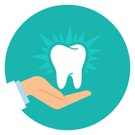 desing: A healthy tooth on the hand of the dentist. Flat design. Vector illustration