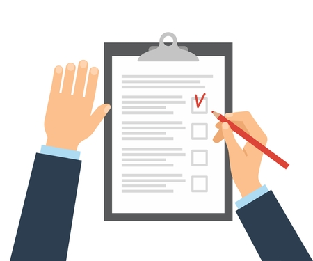 pensil: Businessman fills checklist with pencil. Questionnaire, survey, clipboard, task list. Icon flat style vector illustration. Filling out forms, planning Illustration