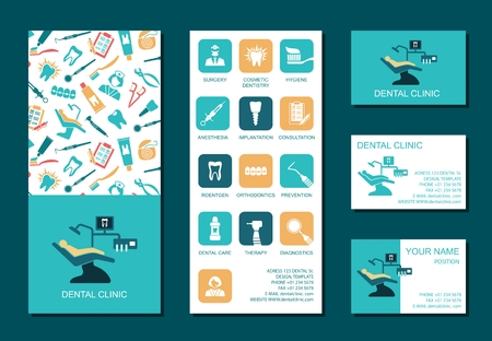 business products: Set of flyerand business cards for dental clinic. Set of promotional products. Flat design. Vector illustration