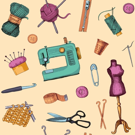 needles: Seamless background with sketches of tools and materials for sewing and needlework