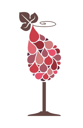 Stylized glass of wine with a grape bunch