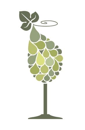 Glass of wine with a grape bunch Векторная Иллюстрация