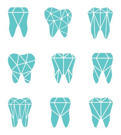 Set di logo del dente. Illustrazione vettoriale per la clinica dentale branding con denti in stile moderno - poligono basso poly in blu e bianco Archivio Fotografico - 72688627