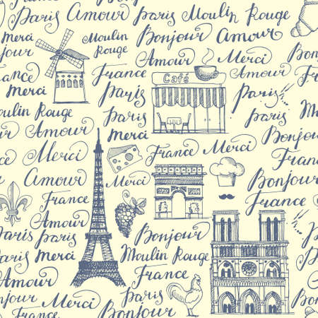 french culture: A set of sketches on the theme of Paris in retro style