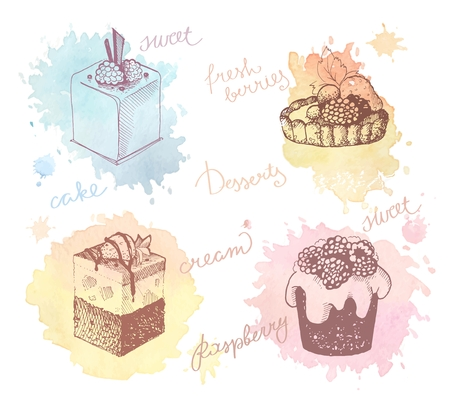 fruit cake: Sketches of scrumptious cupcakes, berry pie and chocolate tiered cake, decorated by butter cream.