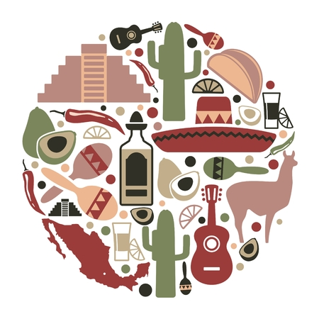 Traditional symbols of culture, the nature and food of Mexico Illustration