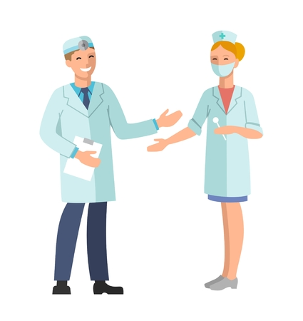 profession: Doctor and Nurse. Vector illustration of a smiling doctor and nurse. The isolated image on a white background